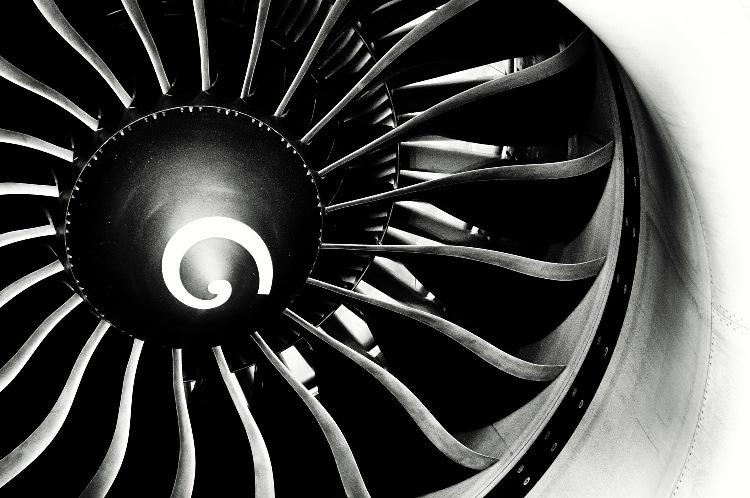 Imagem mostrando a espiral no motor do avião.