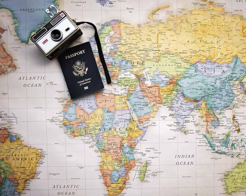 Mapa mundi destinos no Mundo indicados por blogueiros de viagem