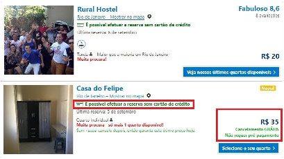 Comparativo de hostel com vantagem de pagamento e hostel barato sem