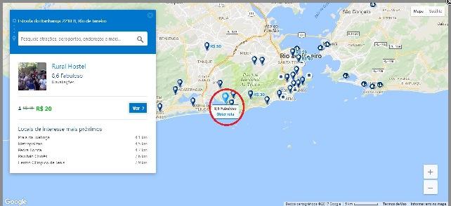 Mapa mostrando os hostels da cidade no Booking
