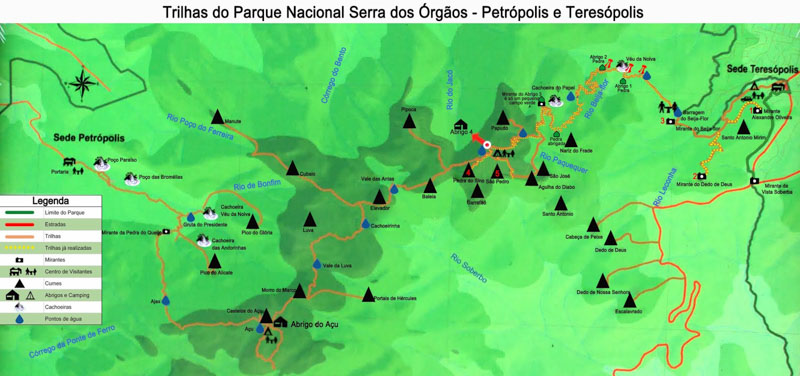 Mapa Parque Nacional da serra dos Órgãos