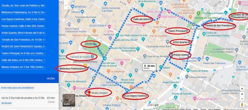 mapa de puebla com roteiro pelo centro da cidade