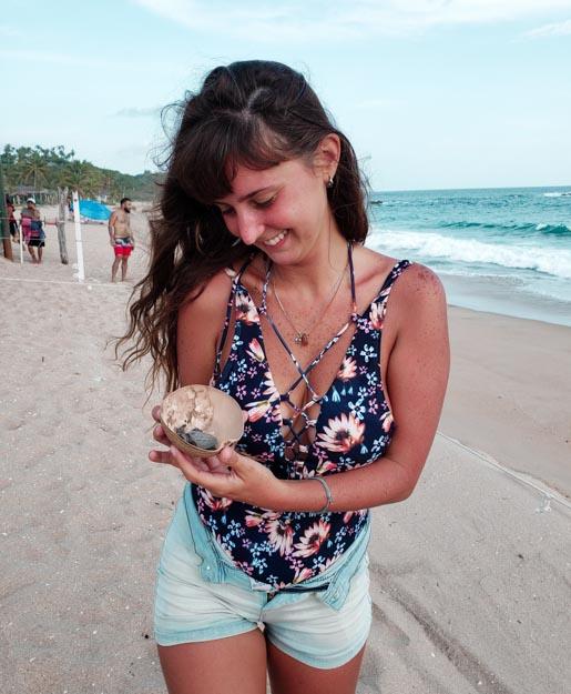 segurando filhote de tartaruga no casco do coco