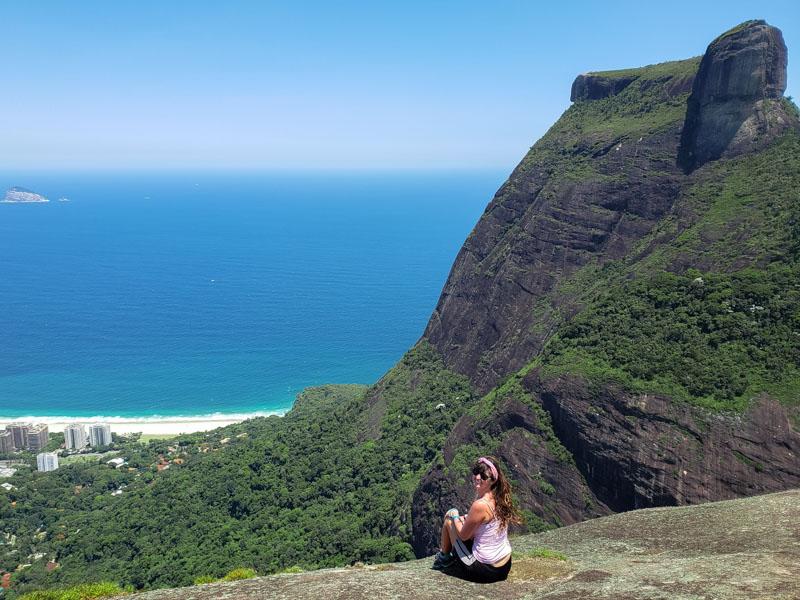 Vista da Pedra da Gávea da Pedra Bonita no Rio de Janeiro