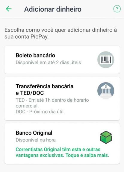 depositar dinheiro no app