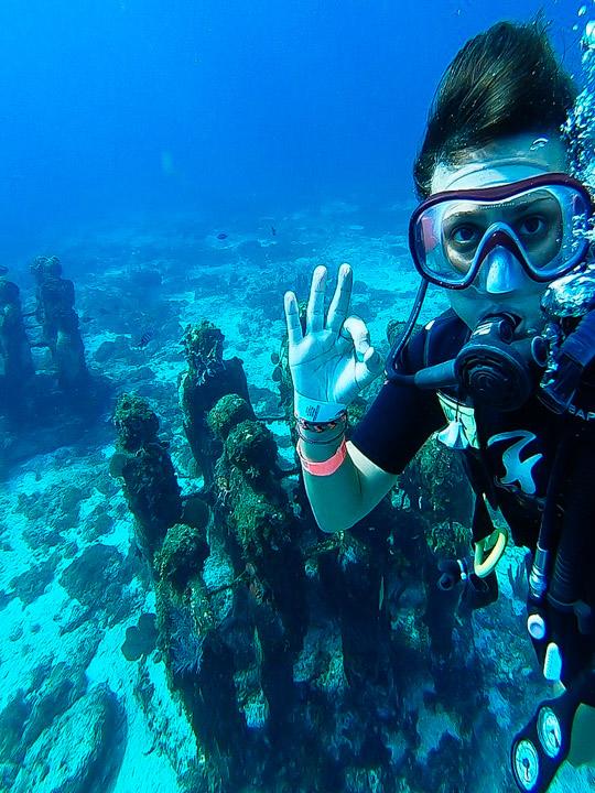 Mergulho no Museu Subaquático de Cancun