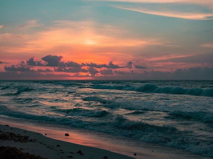 pôr do sol na Praia Martina em Playa del Carmen