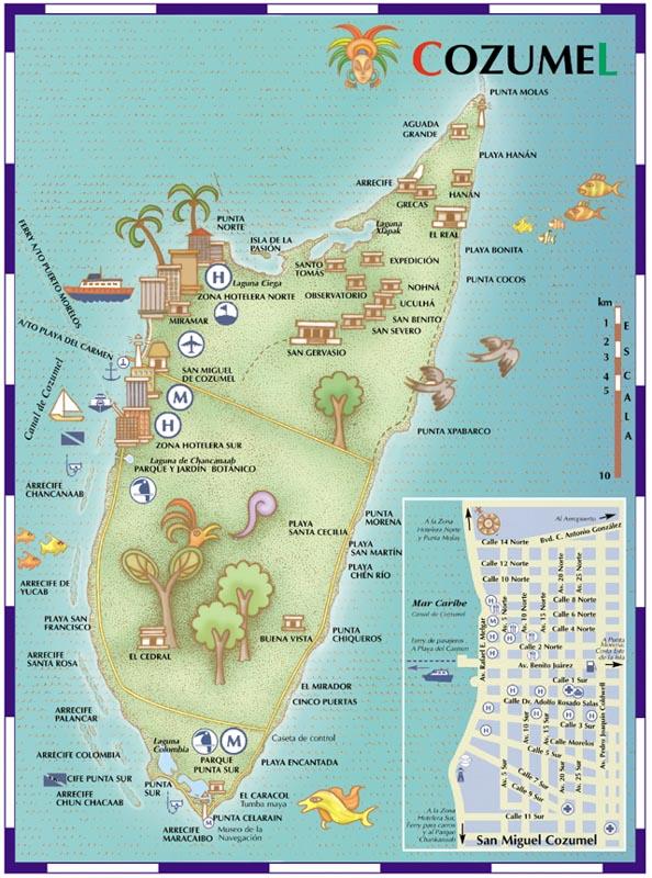 Mapa de Cozumel