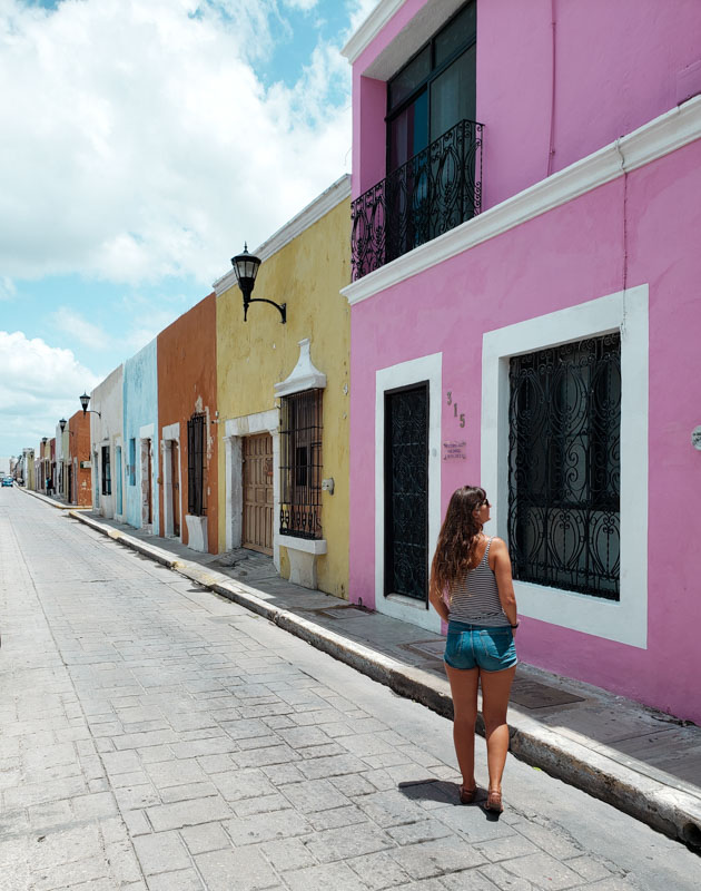 Calle 59 casinhas coloridas de Campeche México